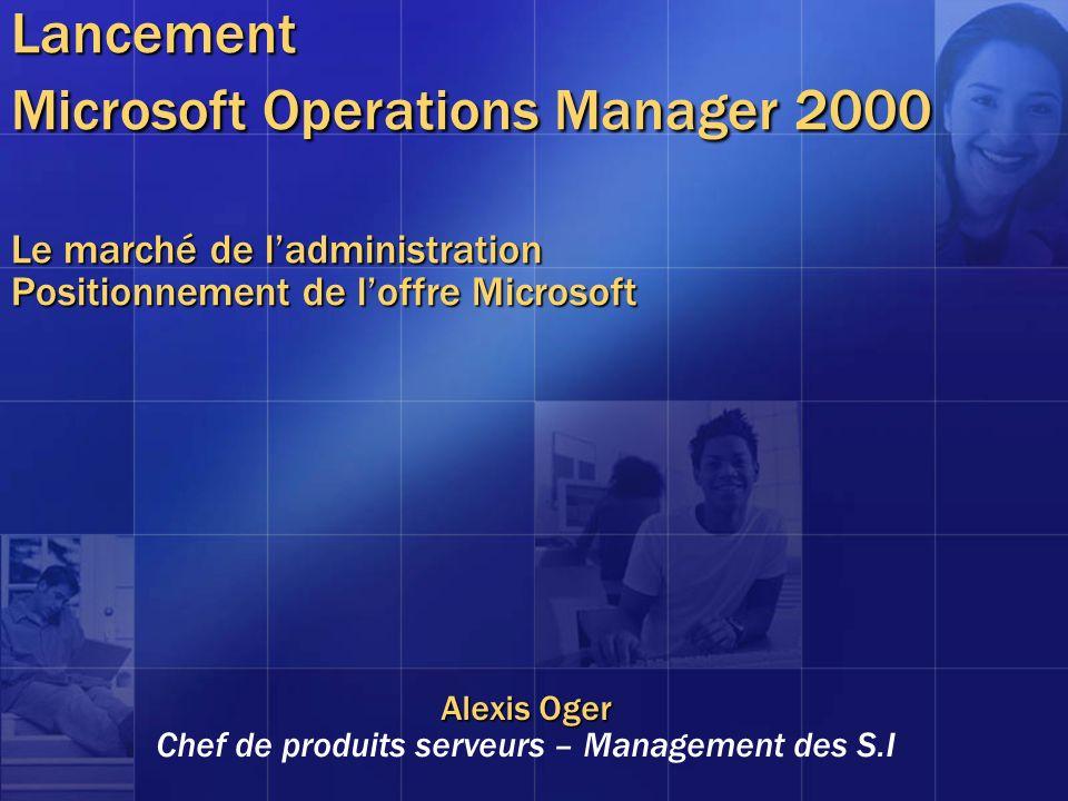 Lancement Microsoft Operations Manager 2000 Le marché de ladministration Positionnement de loffre Microsoft Alexis Oger Chef de produits serveurs – Ma