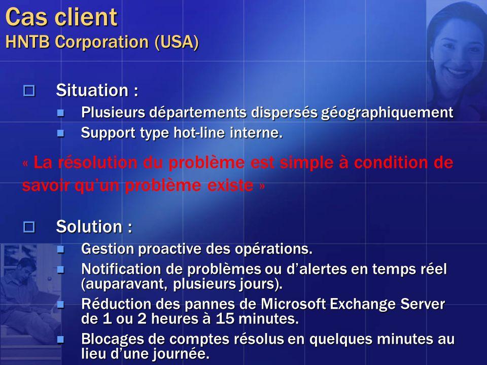 Cas client HNTB Corporation (USA) Situation : Situation : Plusieurs départements dispersés géographiquement Plusieurs départements dispersés géographi