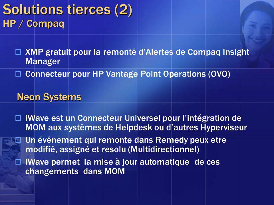 Solutions tierces (2) HP / Compaq XMP gratuit pour la remonté dAlertes de Compaq Insight Manager Connecteur pour HP Vantage Point Operations (OVO) Neo