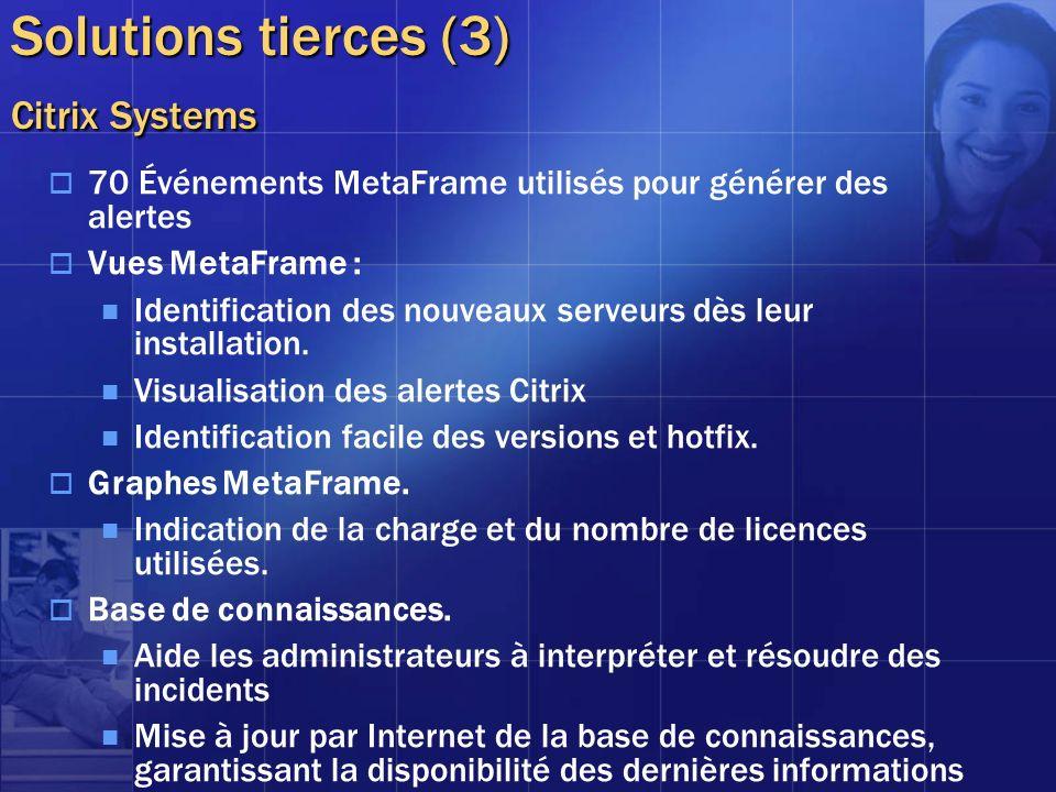 Solutions tierces (3) Citrix Systems 70 Événements MetaFrame utilisés pour générer des alertes Vues MetaFrame : Identification des nouveaux serveurs d