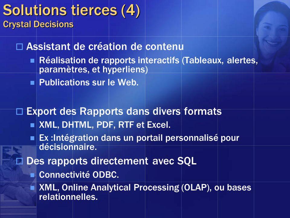 Solutions tierces (4) Crystal Decisions Assistant de création de contenu Réalisation de rapports interactifs (Tableaux, alertes, paramètres, et hyperl
