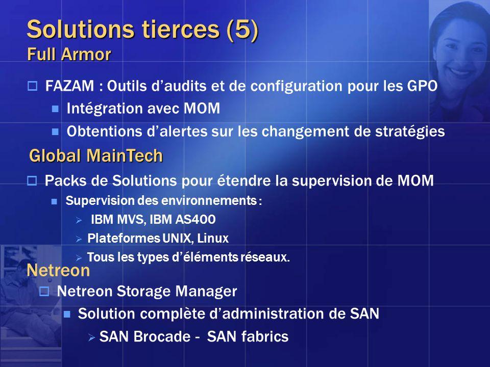 Solutions tierces (5) Full Armor FAZAM : Outils daudits et de configuration pour les GPO Intégration avec MOM Obtentions dalertes sur les changement d