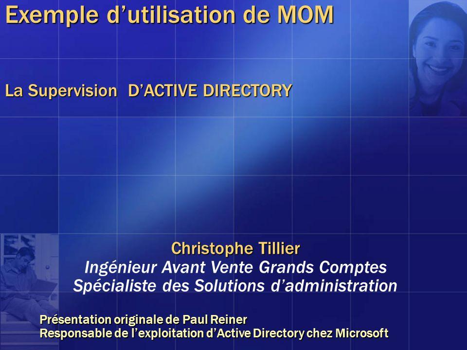 Exemple dutilisation de MOM La Supervision DACTIVE DIRECTORY Christophe Tillier Ingénieur Avant Vente Grands Comptes Spécialiste des Solutions dadmini