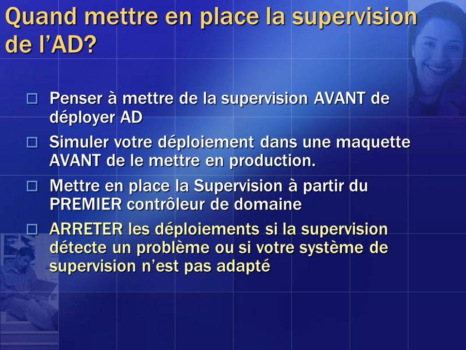 Quand mettre en place la supervision de lAD? Penser à mettre de la supervision AVANT de déployer AD Penser à mettre de la supervision AVANT de déploye