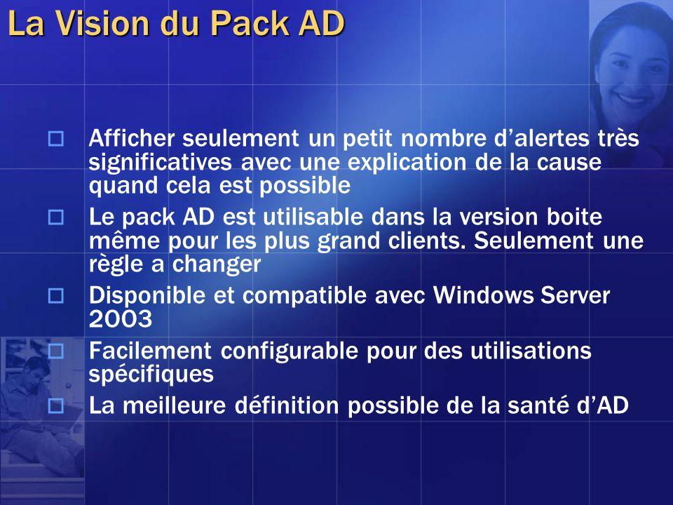 La Vision du Pack AD Afficher seulement un petit nombre dalertes très significatives avec une explication de la cause quand cela est possible Le pack