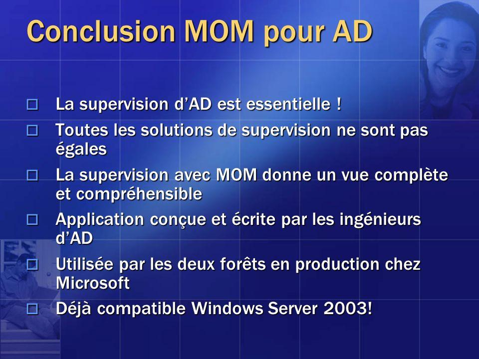 Conclusion MOM pour AD La supervision dAD est essentielle ! La supervision dAD est essentielle ! Toutes les solutions de supervision ne sont pas égale