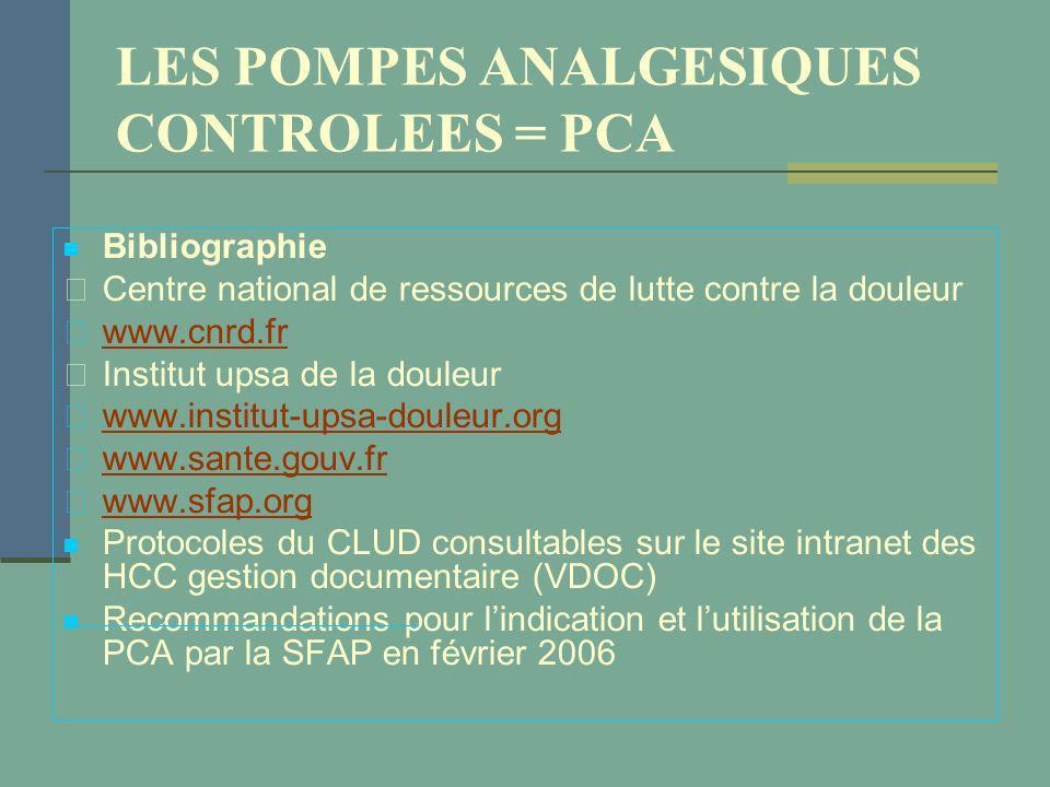 LES POMPES ANALGESIQUES CONTROLEES = PCA Bibliographie Centre national de ressources de lutte contre la douleur www.cnrd.fr Institut upsa de la douleu