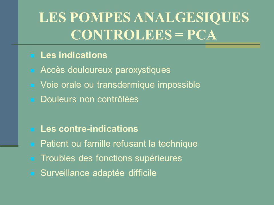 LES POMPES ANALGESIQUES CONTROLEES = PCA Les indications Accès douloureux paroxystiques Voie orale ou transdermique impossible Douleurs non contrôlées