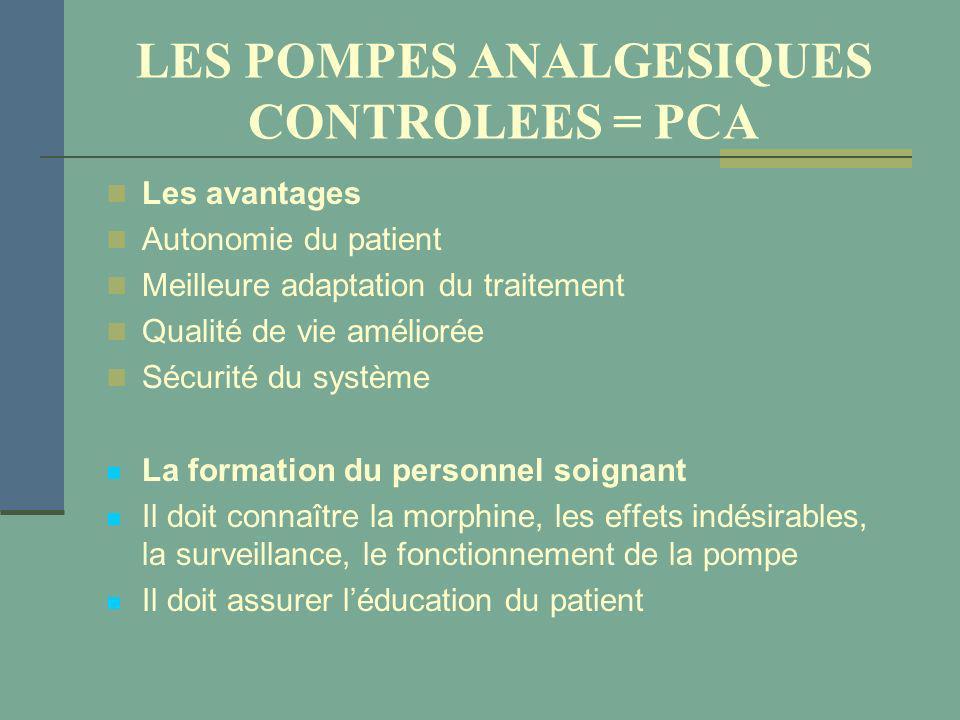 LES POMPES ANALGESIQUES CONTROLEES = PCA Les avantages Autonomie du patient Meilleure adaptation du traitement Qualité de vie améliorée Sécurité du sy