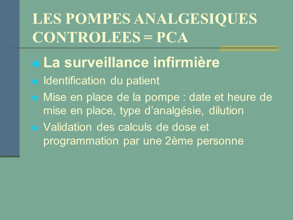 LES POMPES ANALGESIQUES CONTROLEES = PCA La surveillance infirmière Identification du patient Mise en place de la pompe : date et heure de mise en pla