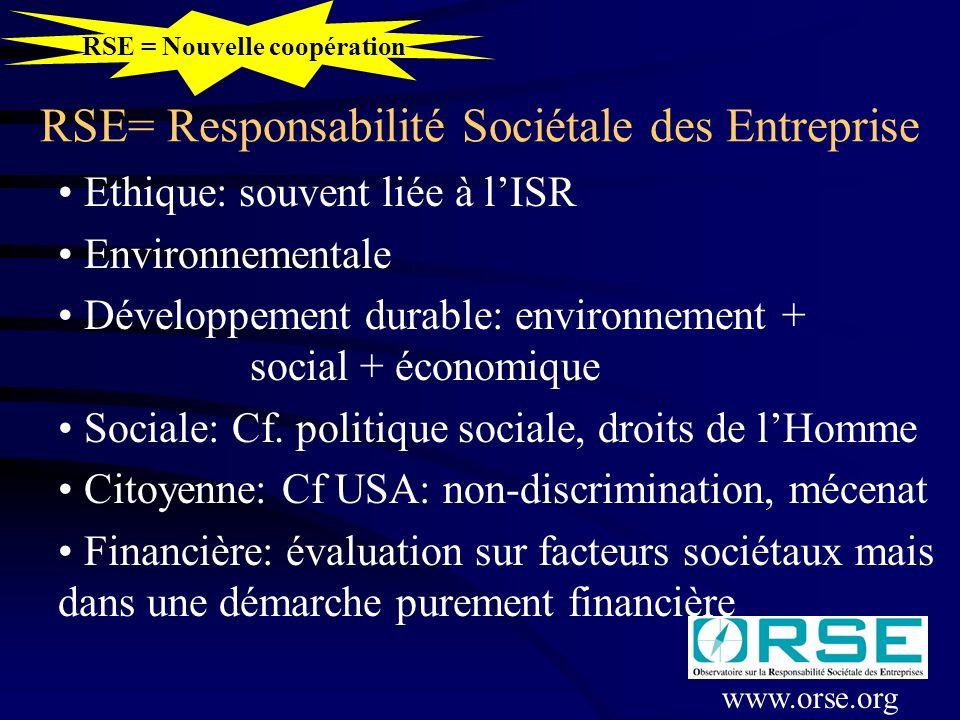 RSE= Responsabilité Sociétale des Entreprise Ethique: souvent liée à lISR Environnementale Développement durable: environnement + social + économique Sociale: Cf.