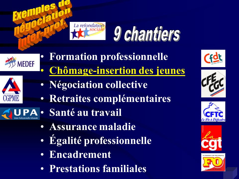 Formation professionnelle Chômage-insertion des jeunes Négociation collective Retraites complémentaires Santé au travail Assurance maladie Égalité pro