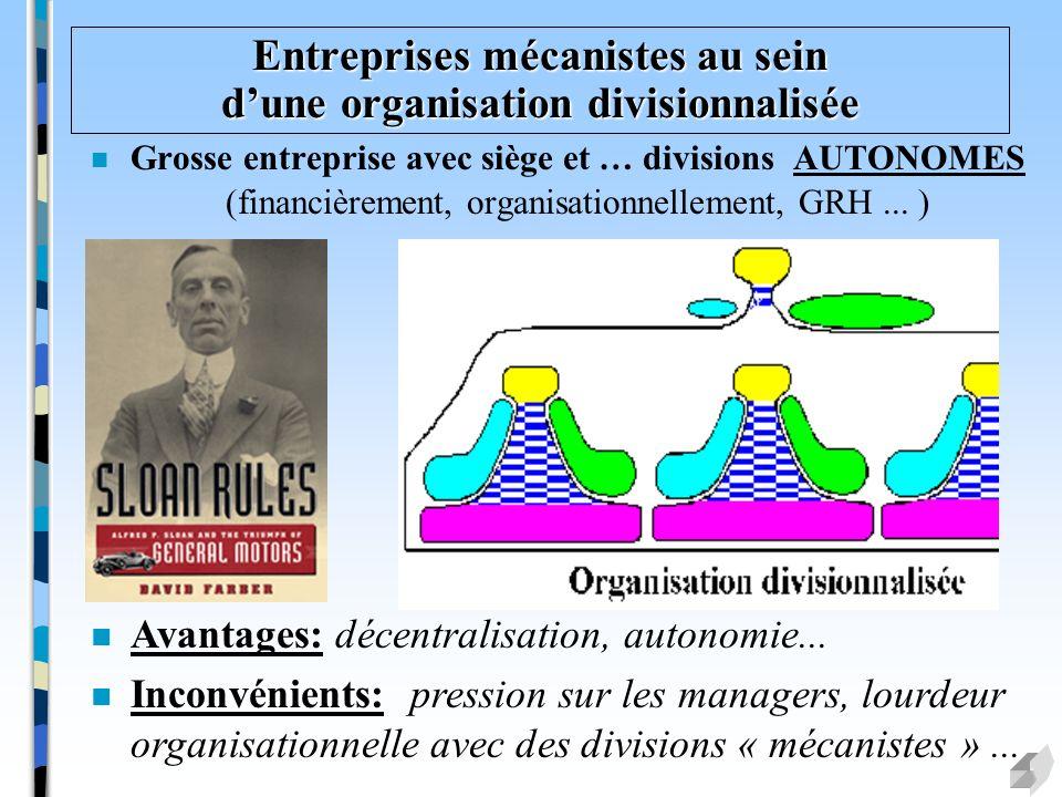 Entreprises mécanistes au sein dune organisation divisionnalisée n Grosse entreprise avec siège et … divisions AUTONOMES (financièrement, organisation