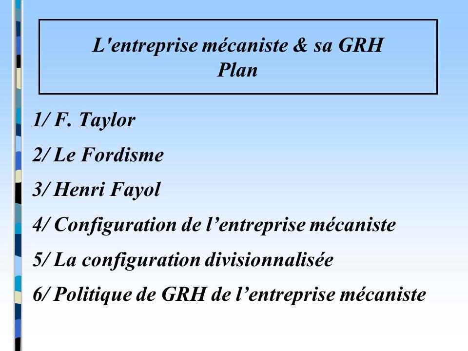 1/ F. Taylor 2/ Le Fordisme 3/ Henri Fayol 4/ Configuration de lentreprise mécaniste 5/ La configuration divisionnalisée 6/ Politique de GRH de lentre