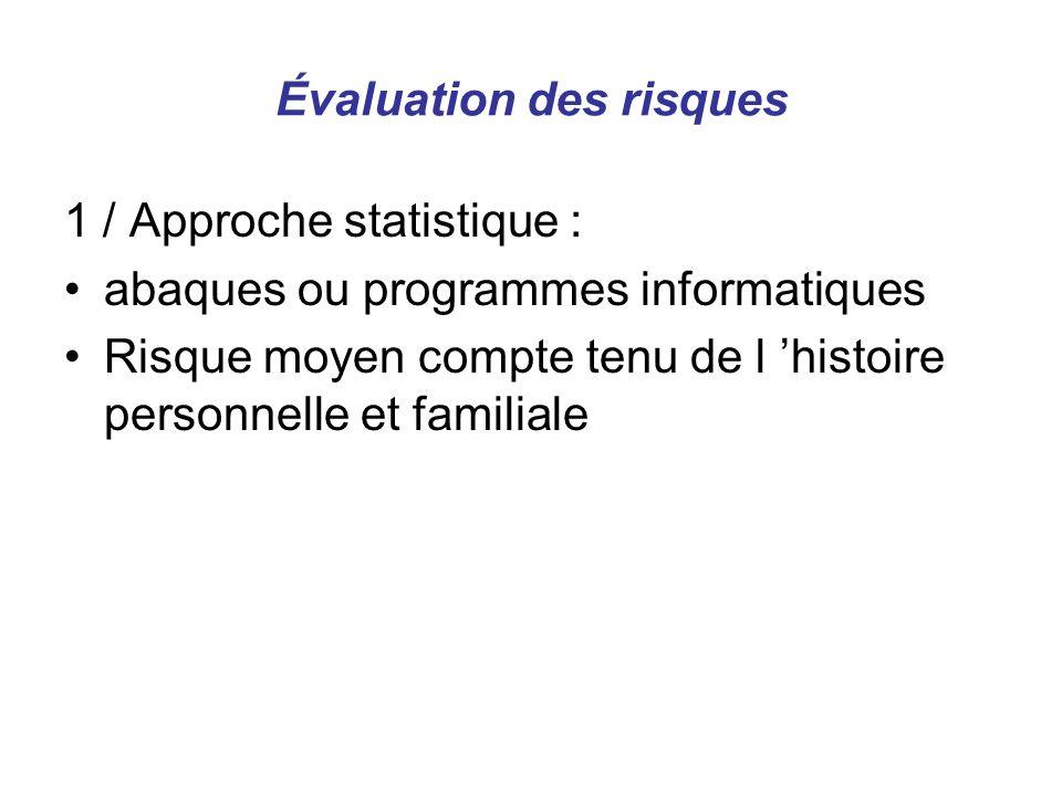 Évaluation des risques 1 / Approche statistique : abaques ou programmes informatiques Risque moyen compte tenu de l histoire personnelle et familiale