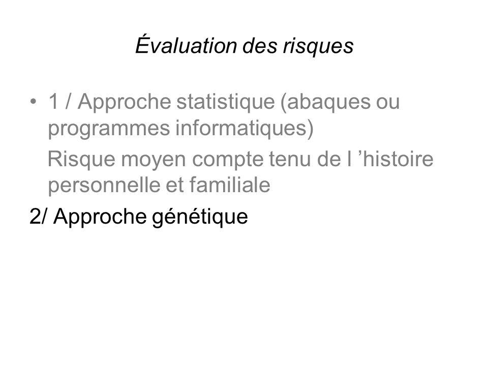 Évaluation des risques 1 / Approche statistique (abaques ou programmes informatiques) Risque moyen compte tenu de l histoire personnelle et familiale