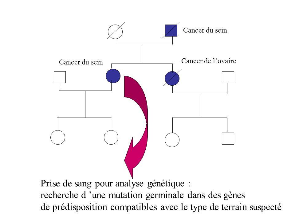 Cancer du sein Cancer de lovaire Cancer du sein Prise de sang pour analyse génétique : recherche d une mutation germinale dans des gènes de prédisposi
