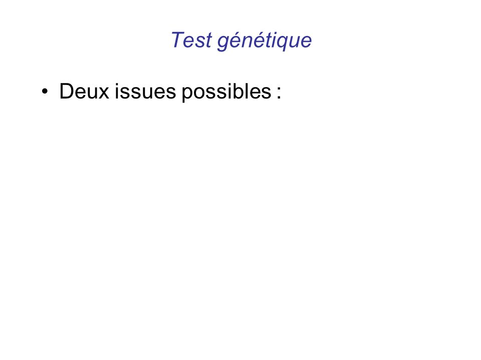 Test génétique Deux issues possibles :