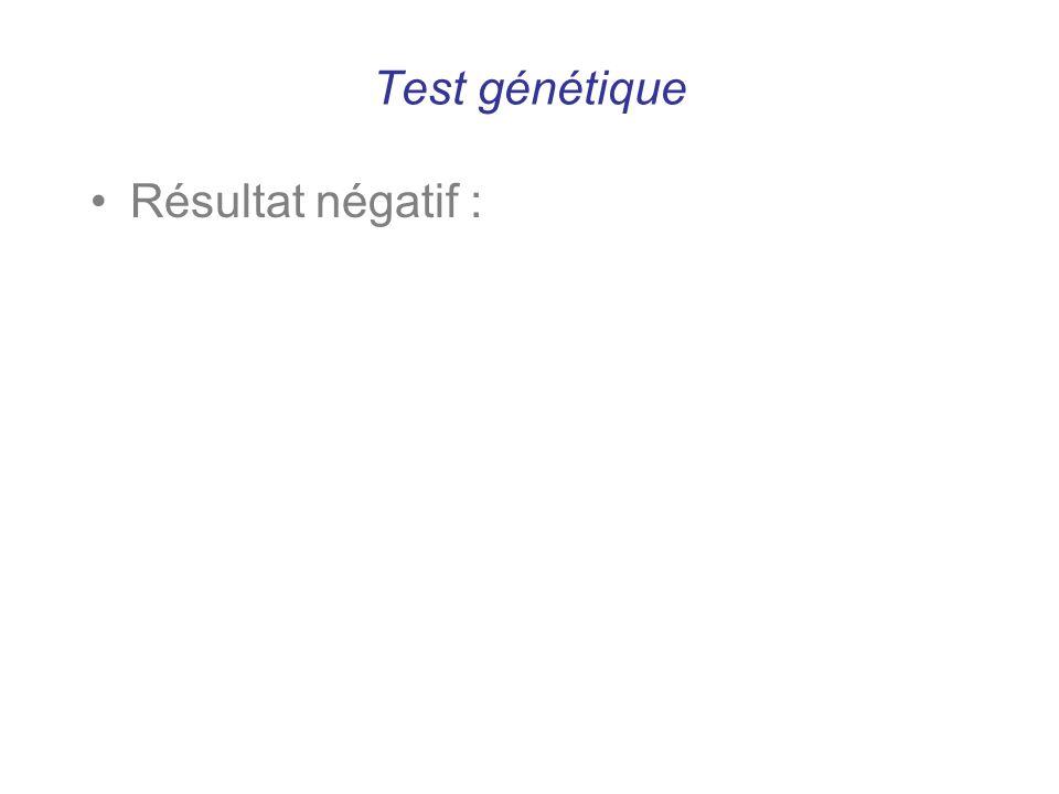Test génétique Résultat négatif :