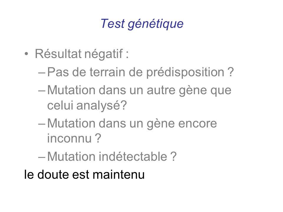 Test génétique Résultat négatif : –Pas de terrain de prédisposition ? –Mutation dans un autre gène que celui analysé? –Mutation dans un gène encore in