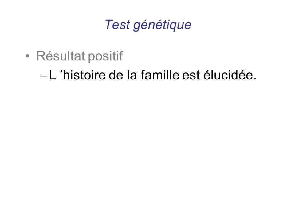 Test génétique Résultat positif –L histoire de la famille est élucidée.