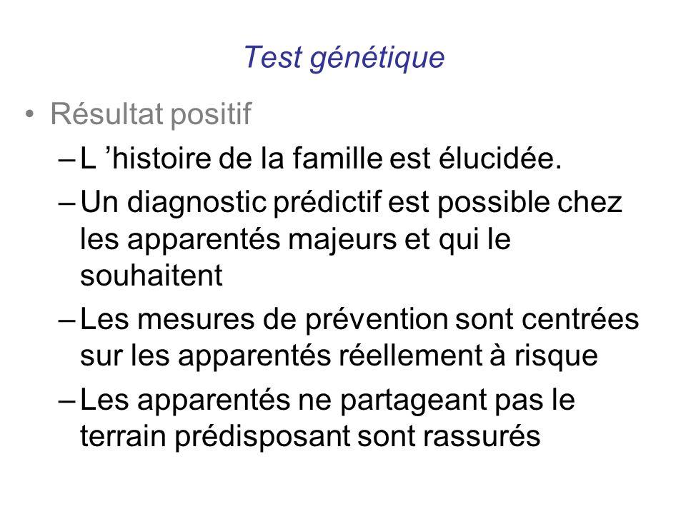 Test génétique Résultat positif –L histoire de la famille est élucidée. –Un diagnostic prédictif est possible chez les apparentés majeurs et qui le so