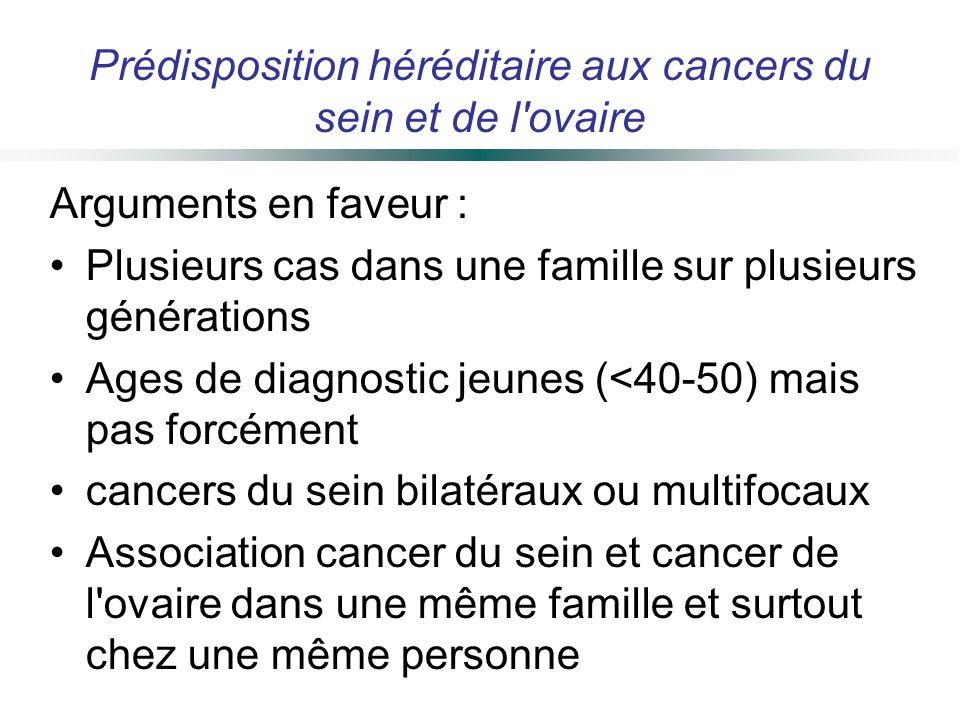 Arguments en faveur : Plusieurs cas dans une famille sur plusieurs générations Ages de diagnostic jeunes (<40-50) mais pas forcément cancers du sein b