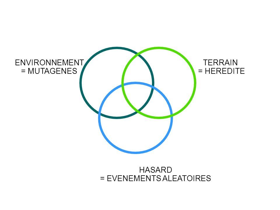 TERRAIN = HEREDITE ENVIRONNEMENT = MUTAGENES HASARD = EVENEMENTS ALEATOIRES