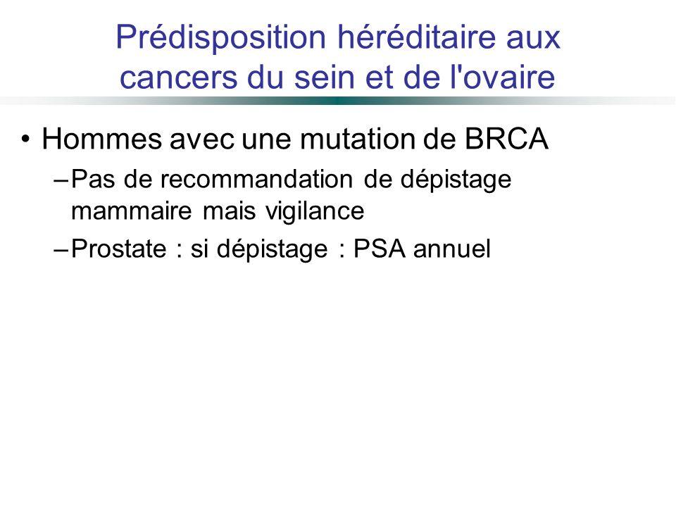 Hommes avec une mutation de BRCA –Pas de recommandation de dépistage mammaire mais vigilance –Prostate : si dépistage : PSA annuel Prédisposition héré
