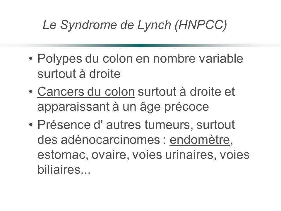 Polypes du colon en nombre variable surtout à droite Cancers du colon surtout à droite et apparaissant à un âge précoce Présence d' autres tumeurs, su