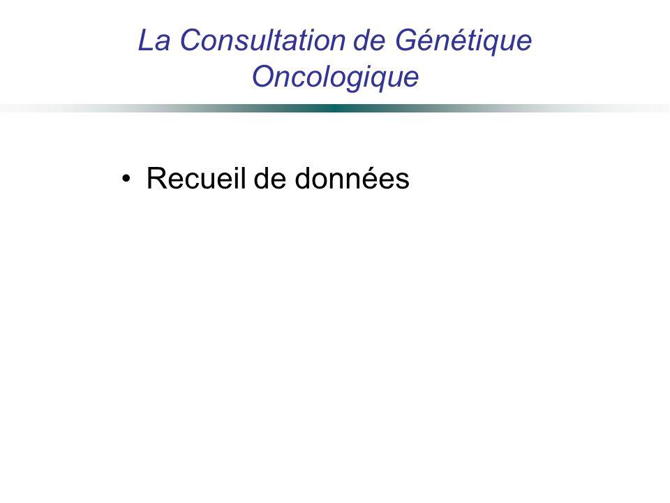 La Consultation de Génétique Oncologique Recueil de données