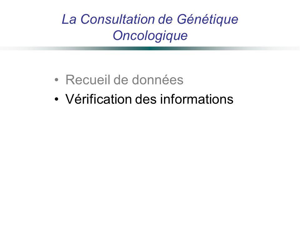 La Consultation de Génétique Oncologique Recueil de données Vérification des informations