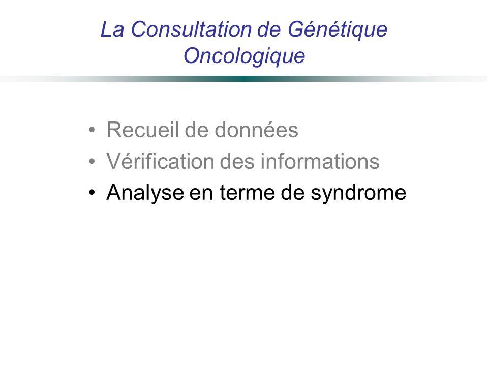 La Consultation de Génétique Oncologique Recueil de données Vérification des informations Analyse en terme de syndrome