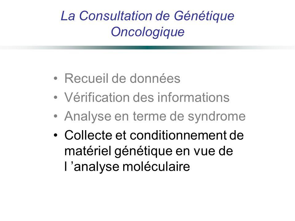 La Consultation de Génétique Oncologique Recueil de données Vérification des informations Analyse en terme de syndrome Collecte et conditionnement de