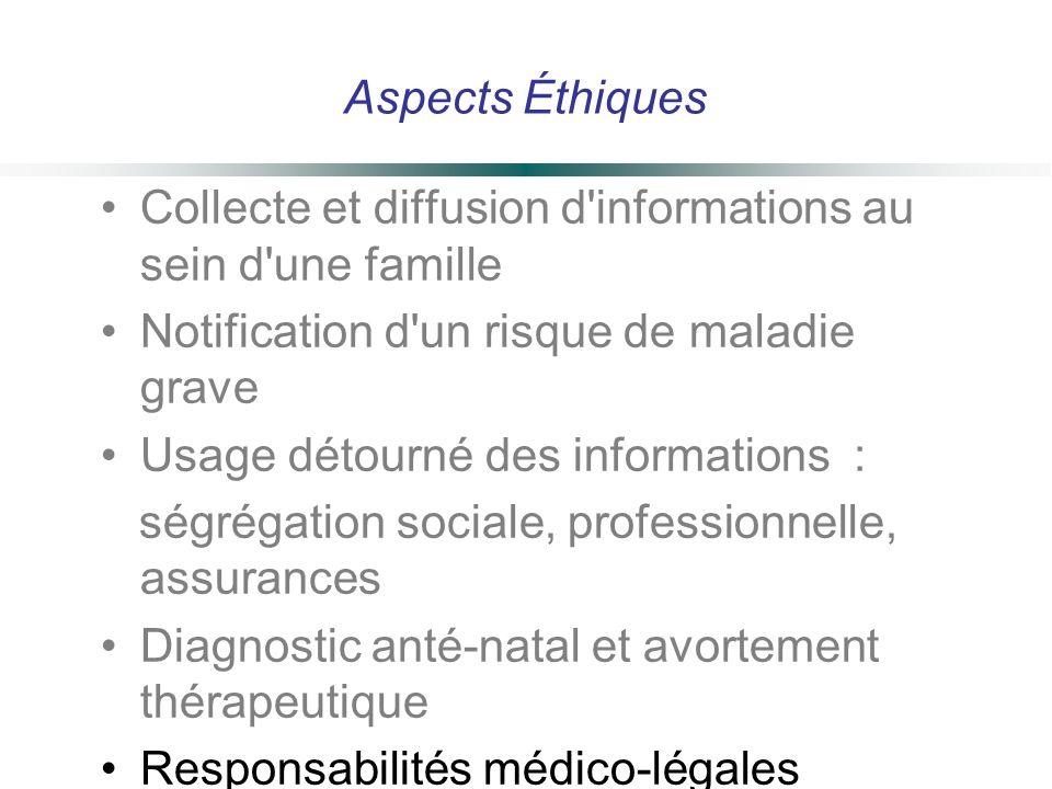 Aspects Éthiques Collecte et diffusion d'informations au sein d'une famille Notification d'un risque de maladie grave Usage détourné des informations
