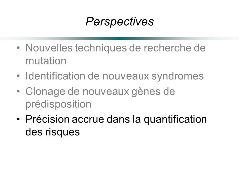 Perspectives Nouvelles techniques de recherche de mutation Identification de nouveaux syndromes Clonage de nouveaux gènes de prédisposition Précision