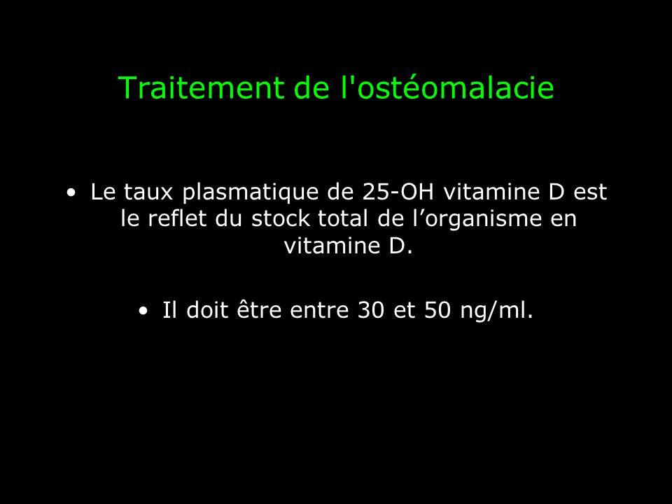 Traitement de l'ostéomalacie Le taux plasmatique de 25-OH vitamine D est le reflet du stock total de lorganisme en vitamine D. Il doit être entre 30 e