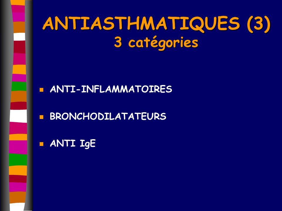 n ANTI-INFLAMMATOIRES n BRONCHODILATATEURS n ANTI IgE ANTIASTHMATIQUES (3) 3 catégories