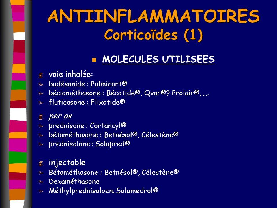 ANTIINFLAMMATOIRES Corticoïdes (1) n MOLECULES UTILISEES 4 voie inhalée: P budésonide : Pulmicort® P béclométhasone : Bécotide®, Qvar®? Prolair®, …. P