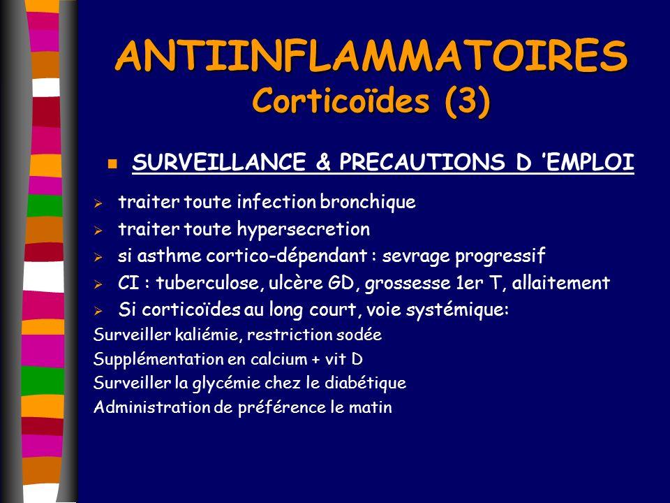 n SURVEILLANCE & PRECAUTIONS D EMPLOI traiter toute infection bronchique traiter toute hypersecretion si asthme cortico-dépendant : sevrage progressif
