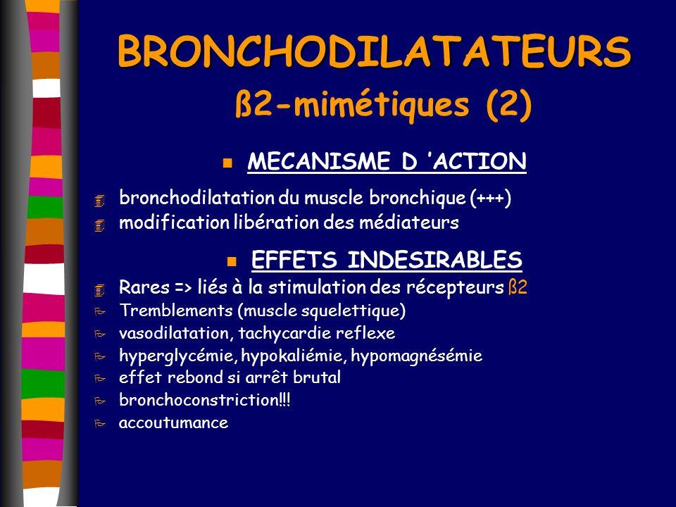 n MECANISME D ACTION 4 bronchodilatation du muscle bronchique (+++) 4 modification libération des médiateurs n EFFETS INDESIRABLES 4 Rares => liés à l