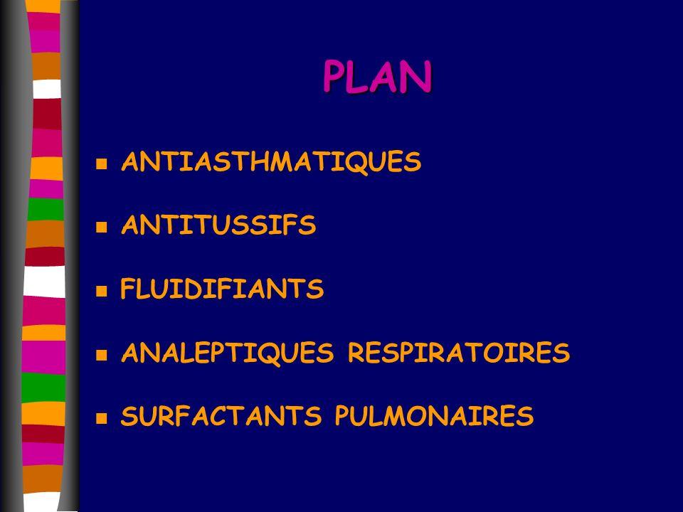 PLAN n ANTIASTHMATIQUES n ANTITUSSIFS n FLUIDIFIANTS n ANALEPTIQUES RESPIRATOIRES n SURFACTANTS PULMONAIRES