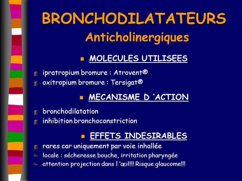 BRONCHODILATATEURS BRONCHODILATATEURS Anticholinergiques n MOLECULES UTILISEES 4 ipratropium bromure : Atrovent® 4 oxitropium bromure : Tersigat® n ME