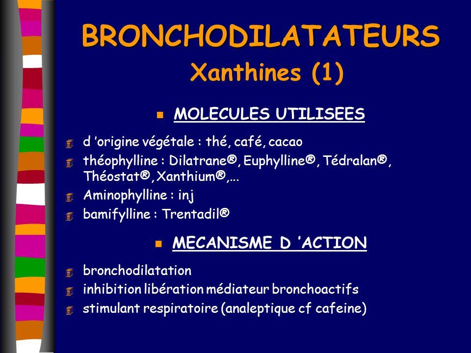 BRONCHODILATATEURS BRONCHODILATATEURS Xanthines (1) n MOLECULES UTILISEES 4 d origine végétale : thé, café, cacao 4 théophylline : Dilatrane®, Euphyll