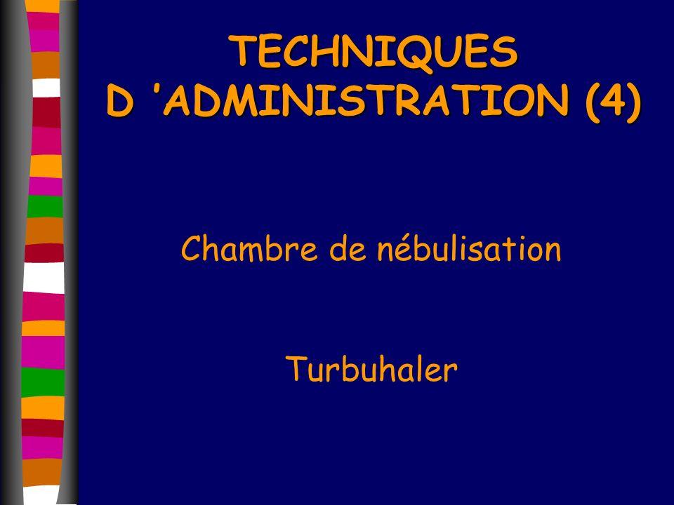 TECHNIQUES D ADMINISTRATION (4) Chambre de nébulisation Turbuhaler