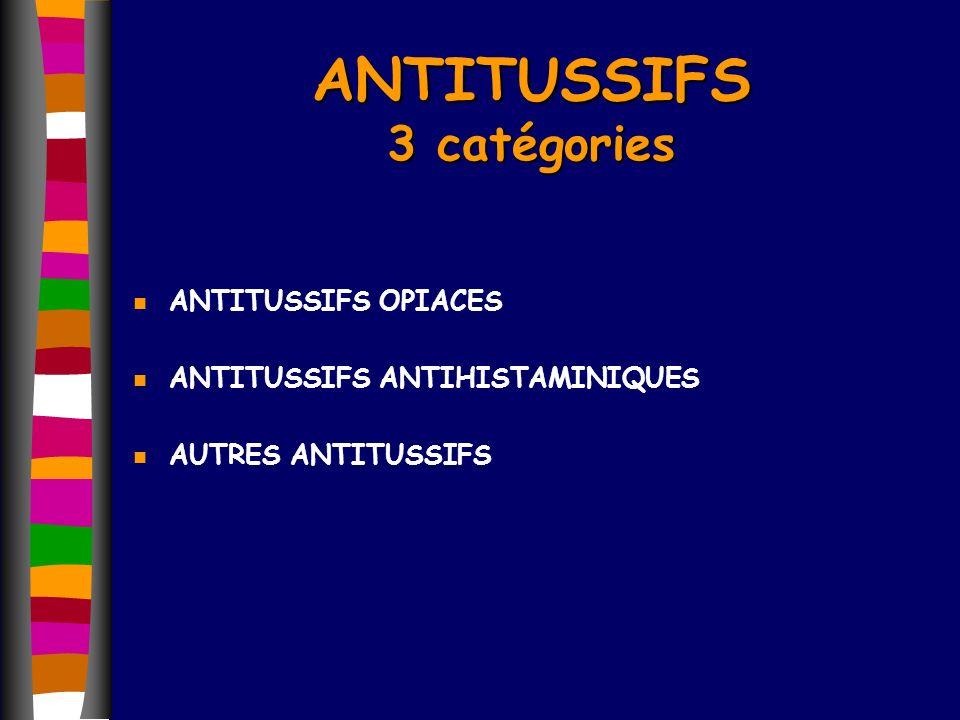 n ANTITUSSIFS OPIACES n ANTITUSSIFS ANTIHISTAMINIQUES n AUTRES ANTITUSSIFS ANTITUSSIFS 3 catégories