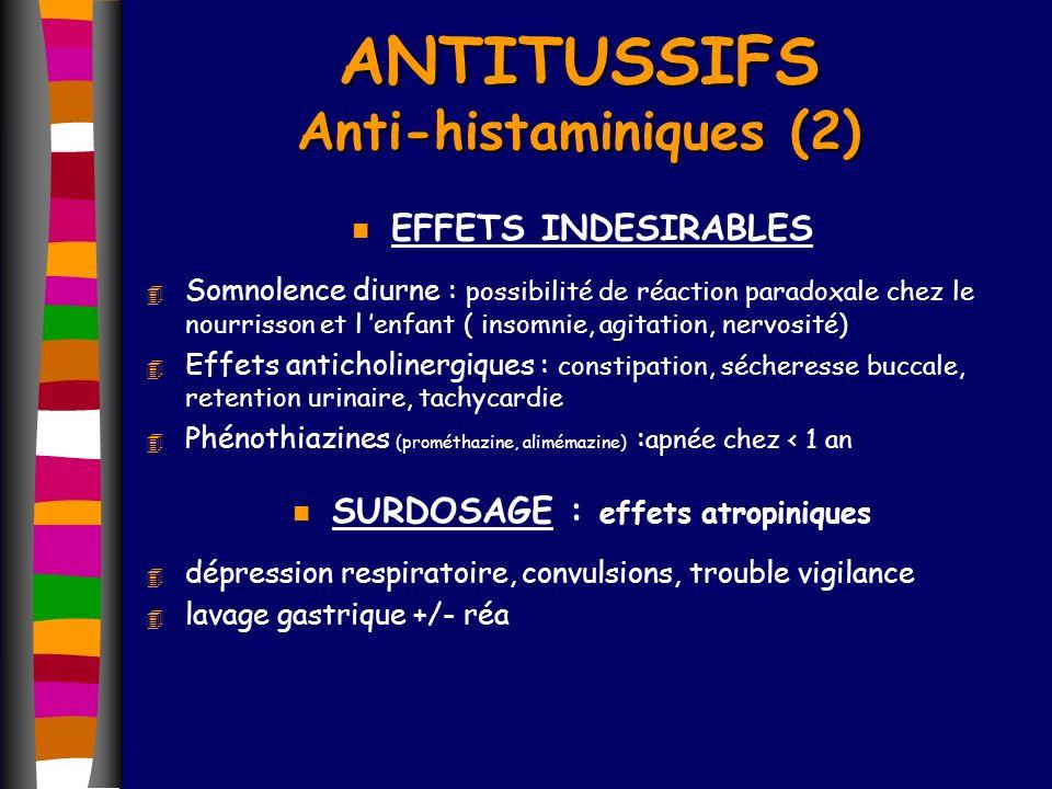 ANTITUSSIFS Anti-histaminiques (2) n EFFETS INDESIRABLES 4 Somnolence diurne : possibilité de réaction paradoxale chez le nourrisson et l enfant ( ins