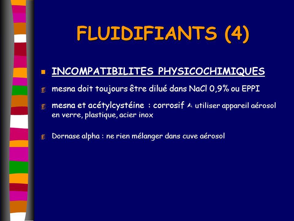 n INCOMPATIBILITES PHYSICOCHIMIQUES 4 mesna doit toujours être dilué dans NaCl 0,9% ou EPPI 4 mesna et acétylcystéine : corrosif utiliser appareil aér