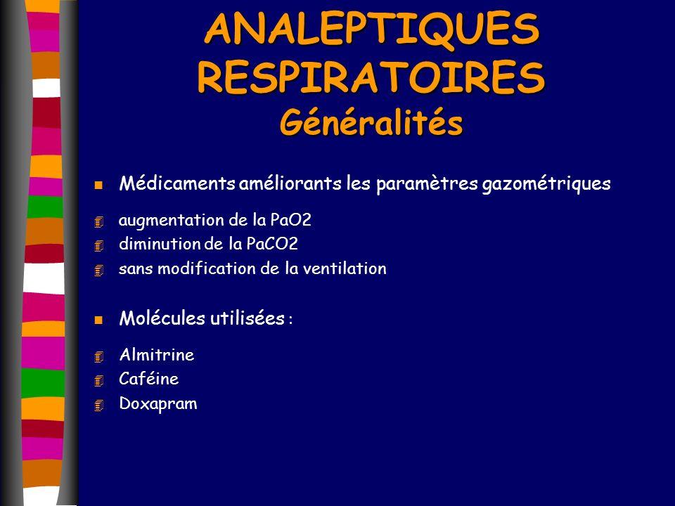 n Médicaments améliorants les paramètres gazométriques 4 augmentation de la PaO2 4 diminution de la PaCO2 4 sans modification de la ventilation n Molé