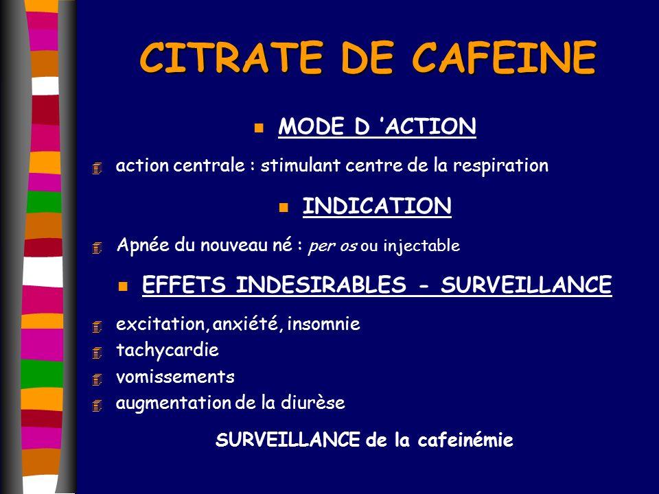 CITRATE DE CAFEINE n MODE D ACTION 4 action centrale : stimulant centre de la respiration n INDICATION 4 Apnée du nouveau né : per os ou injectable n